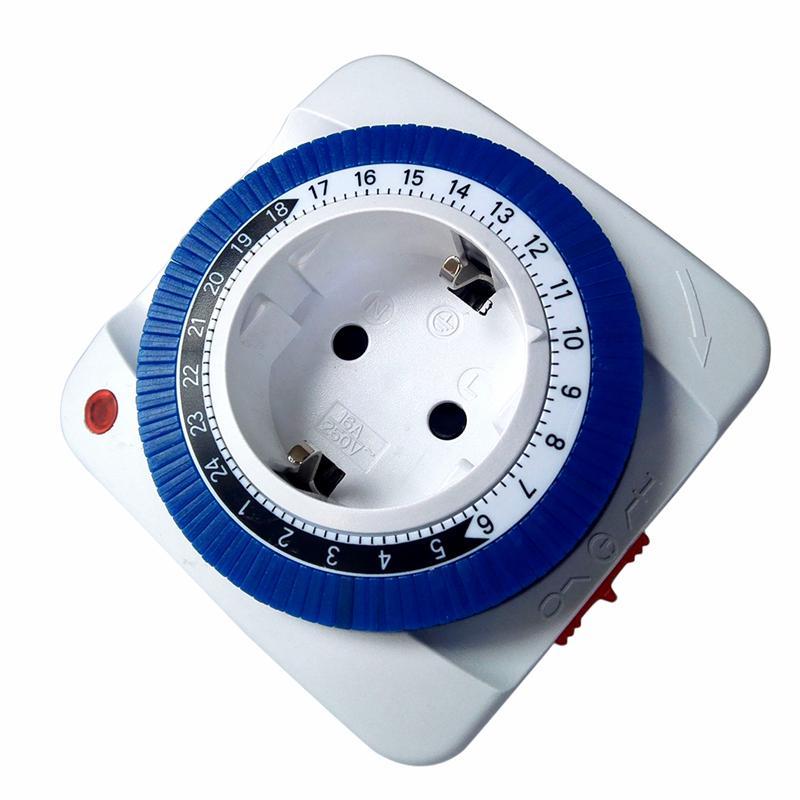 230V 24 Hour Timer Socket Mechanical Program Timer Switch Socket EU/US Plug  Wall Outlet Protector Energy Saveing