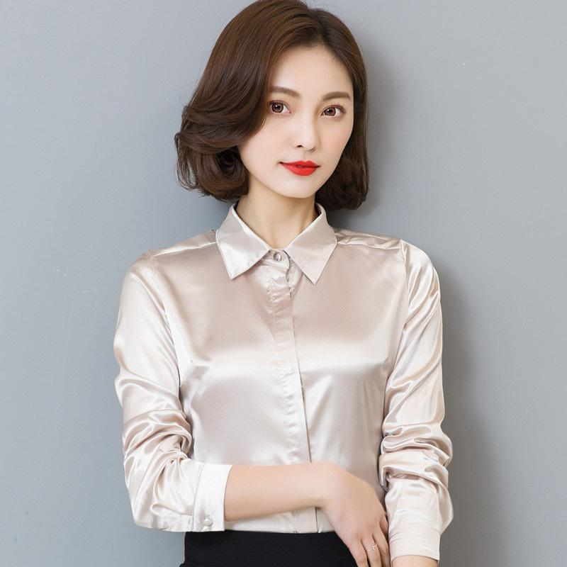 ba61d6842f4727 2019 Women Simulate Silk Satin Shirt Long Sleeve Business Formal Shiny Blouse  Tops Elegant Performance Wear Fashion From Your07