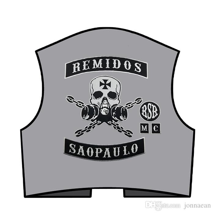 HOT SALE REMIDOS SAO PAULO SKULL MOTORCYCLE CLUB VEST OUTLAW BIKER MC JACKET PUNK LARGE BACK PATCH COOLEST IRON ON WEST PATCH
