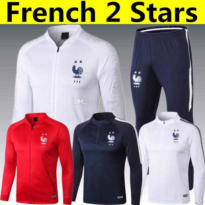 16176e32c 2019 Thai AAA Quality 2 Stars French GRIEZMANN MBAPPE POGBA White Red Long  Sleeve Jacket 2018 World Cup Champion DEMBELE KANTE Blue Tracksuit From  Group1234 ...