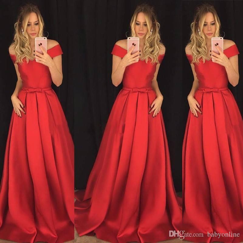 3ed06d3acf 2018 Chic Red Evening Dresses A Line Off Shoulders Bow Knot Sash Long Satin  Evening Prom Gowns Celebrity Pageant Dress Formal Wears Evening Dresses Uk  Sale ...