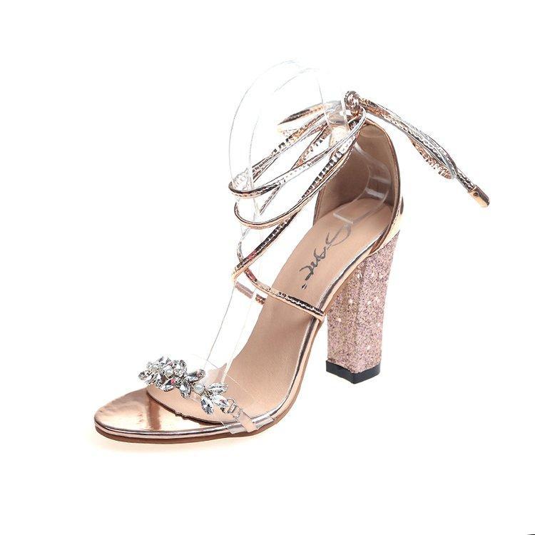 5302289ff920e Acheter Femmes Super Talons Sandales Strass Cross Liens Strappy Argent  Chaussures De Mariage En Or Chaussures Habillées Chaussures À Talons Hauts  De  22.92 ...