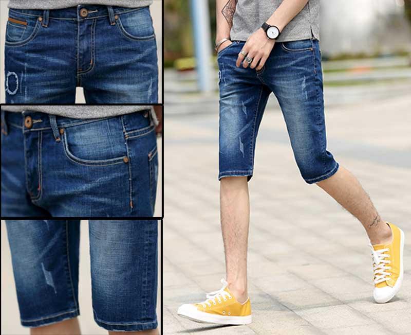 2019 2018 Mens Jeans Shorts Biker Jeans Short Pant Skinny Slim