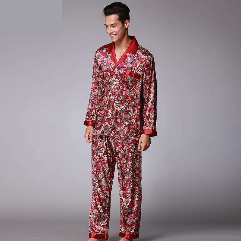 2019 2017 Autumn Luxury Silk Pajamas Set Mens Sexy Satin Silk Sleepwear  Casual Loungewear For Men Soft Warm Robes And Pants 062302 From Ritalei bb2993d61