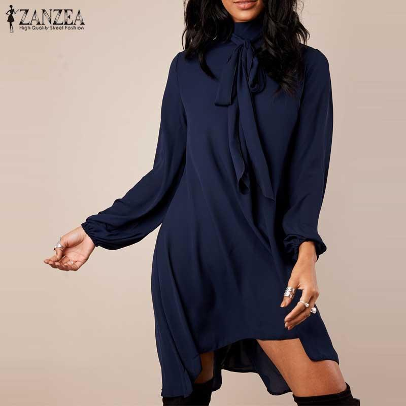 2018 Autumn Women Sexy Turtleneck Mini Dress ZANZEA Casual Long Lantern  Sleeve Irregular Vestido Baggy Beach Robe Plus Size Woman Dresses Summer  Dresses ... cc9b5fada924