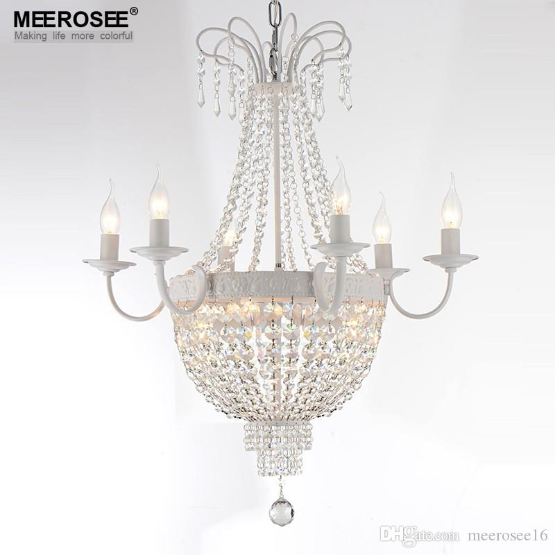 Vintage French Empire Crystal Chandelier Light Fixture Lighting Wrought Iron White Chrome Black Color Pendant Fixtures Ceiling Lamp