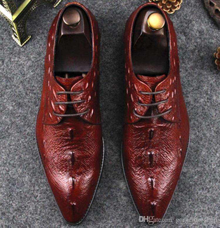 sports shoes 98f37 81a3b 2019 neue Mode gute Qualität Mens Dress Schuhe echtes Leder Krokodilmuster  italienischen Stil Party Hochzeit Schuhe Business Schuh Größe: 38-45