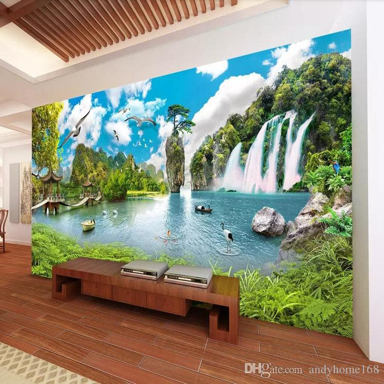 Satın Al Hd Manzara şelale Manzara Duvar 3d Stereo Tv Arka Plan