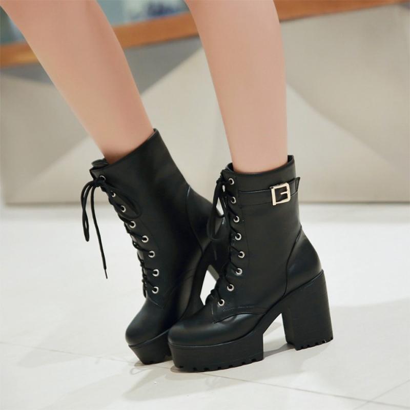 Compre TINGHON Moda Negro Martin Boots Mujer Primavera Otoño Cordones  Zapatos De Plataforma De Cuero Suave Mujer Fiesta Botines Tacones Altos A   111.37 Del ... d4986aed6b00