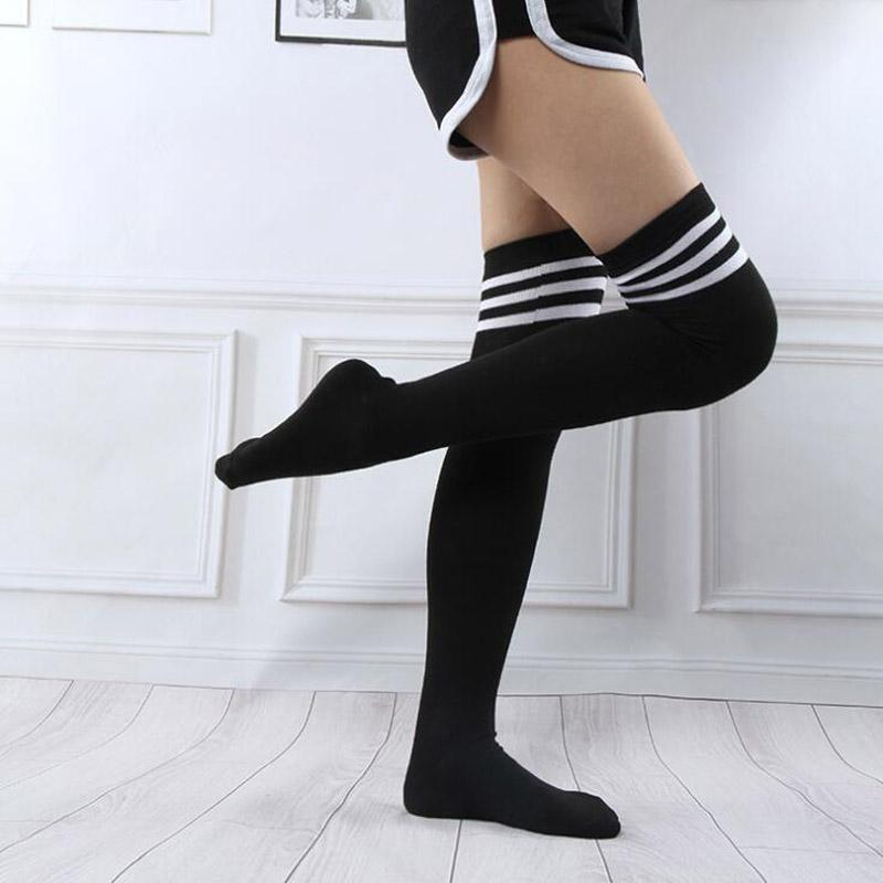 a21d90c2f 2019 Adult Women Over Knee Long Stocking Tight Hight Cotton Anime Cosplay  Striped Stockings Autumn Student Girl Sexy Lingerie From Worsted