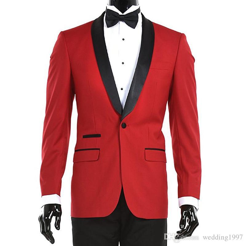 أحمر المساء حزب الرجال الدعاوى أسود شال التلبيب تريم صالح زر واحد 2018 اثنان قطعة زفاف العريس البدلات الرسمية سترات السراويل