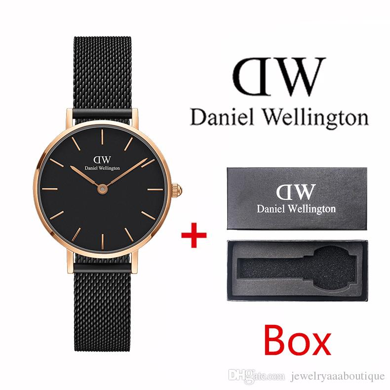 Top Daniel Wellington ladies fashion 40mm and 36mm 32mm steel belt style rose gold men's watch with box beautiful gift montre femme relojes