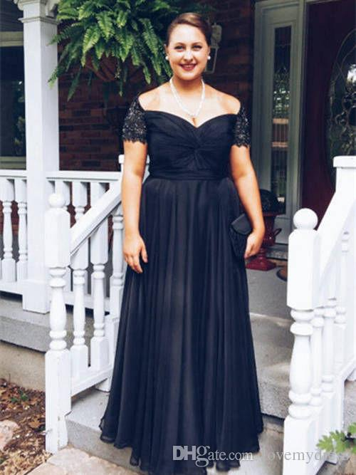 daba70c8365f Modern Black Off Shoulder Evening Gowns Long Prom Dress Cheap With Short  Sleeves Plus Size Beaded Crystal Pleated Chiffon Ruched Formal Silver  Bolero ...