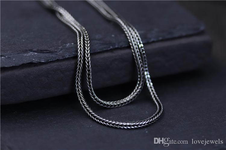designer jewelry vintage 925 sterling silver Woven fox tail chain 2mm 45-75cm marcasite women's sweater chain men's chain china direct