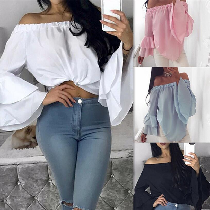 50d1a8cb9ed New Summer 2018 Women Sexy Casual Chiffon Blouse Long Sleeve Slash Neck  Ruffles Irregular Tops Plus Size Female Shirt Blusa Online with   34.29 Piece on ...