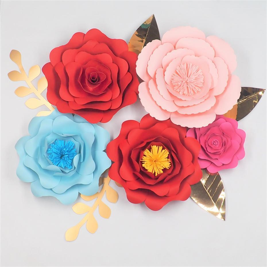 2018 2018 Diy Paper Flowers Backdrop Half Made Large Flower Leaves
