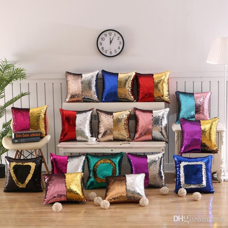 Lantejoulas travesseiro DIY Mermaid Lantejoula capa de almofada fronha Cor mágico Alterar reversível Home Decor Car sofá fronha 40x40cm