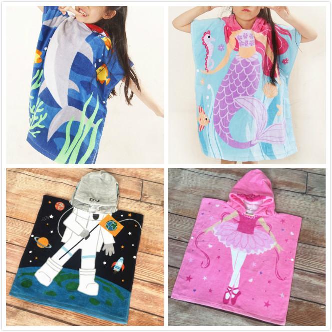 Kids Hooded Poncho Bath Towel Shark Cartoon Mermaid Astronaut Hoodie  Children Beach Towel swimming wearable Hoody Cloak Poncho