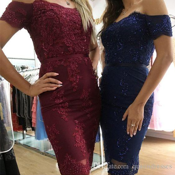 a043071bab67 Designer Burgundy Navy Blue Lace Short Cocktail Dresses Cap Sleeve Off  Shoulder Mini Evening Gowns Special Occasion Party Dress Custom Made Little  Black ...