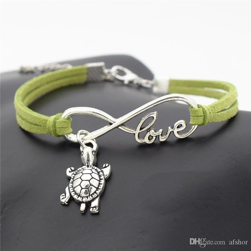 AFSHOR Chic 2018 Beach Lovely Animals Jewelry Small Tortoise Cute Silver Sea Turtle Charms Love Infinity Leather Unique Men Bracelet Bangles