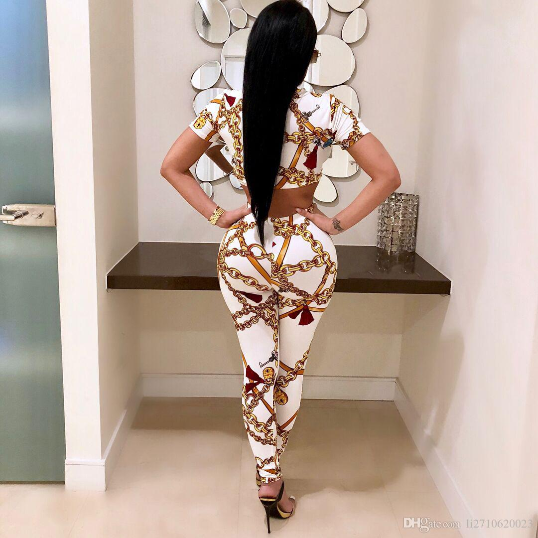 Fashion Golden Chain Printed Women Set Casual Tracksuit Summer O Neck Short Sleeve Cropped Tops + Long Pants Outfit Set