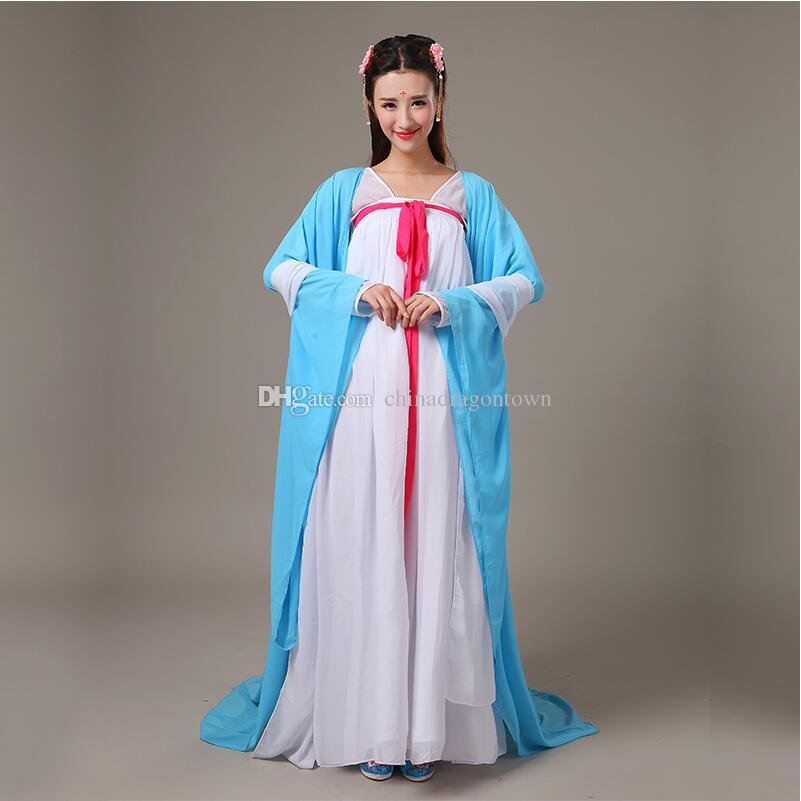 8db871543902 2019 New Hot Fashion Classical Dance Dress Ancient Chinese Elegant Costume  Clothes Fairy Tang Suit Hanfu Ethnic Clothing Chiffon Dresses From ...