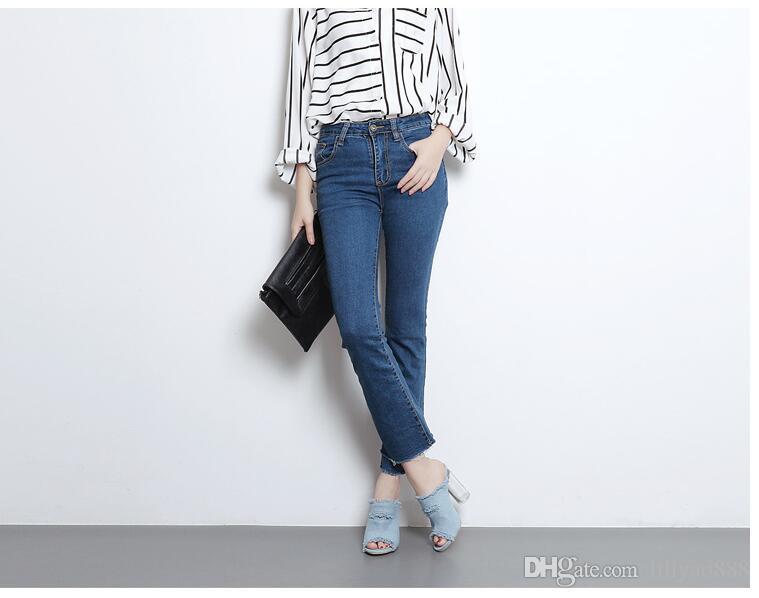 2017 새로운 Cowskin 컷 아웃 레이디 하이힐 샌들에 미끄럼 여름 높은 Chunky 힐 패션 유행 여성 데님 섹시한 발가락 펌프 슬리퍼