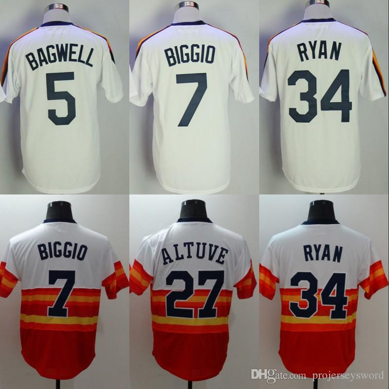 brand new f2590 49e63 Mens Houston Jersey Cheap 5 Jeff Bagwell 7 Craig Biggio 27 Jose Altuve 34  Nolan Ryan Retro Baseball Jerseys Wholesale Free Shipping S-XXXL