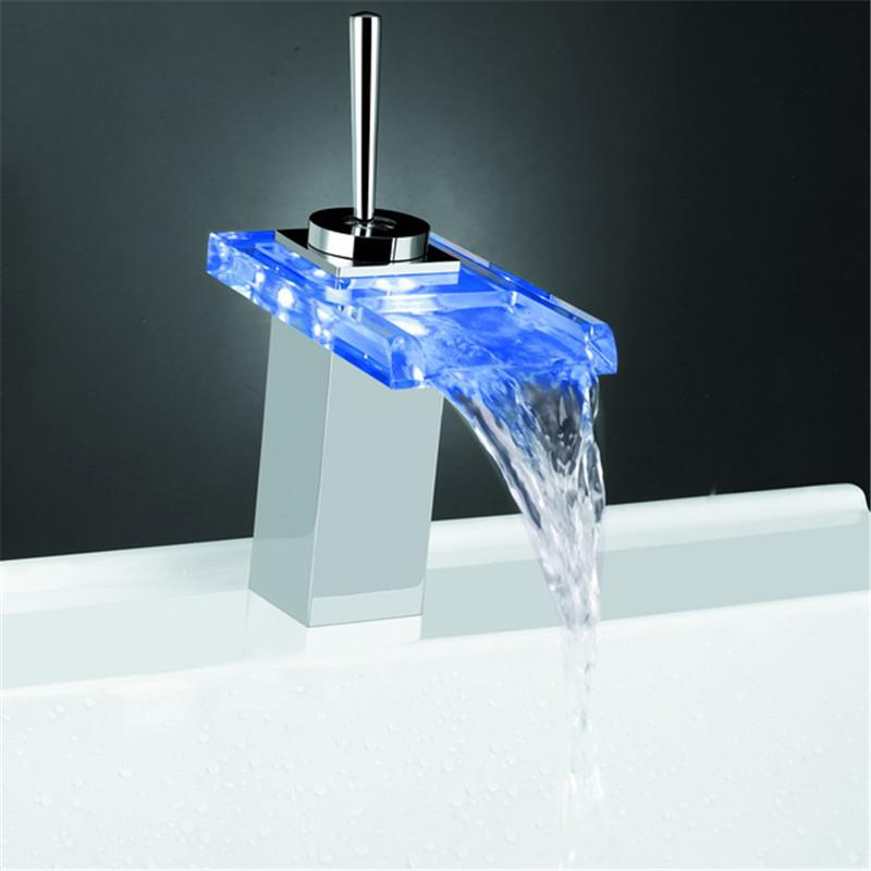 Online Cheap Led Waterfall Faucet Glass Water Tap Crystal Bathroom Handle By Zhexie