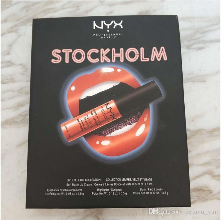 2018 NYX Stockholm Collection CITY SET Makeup Set Palette Charming Cosmetics set Lip Gloss lipstick highlighter Collection for girls teens 6