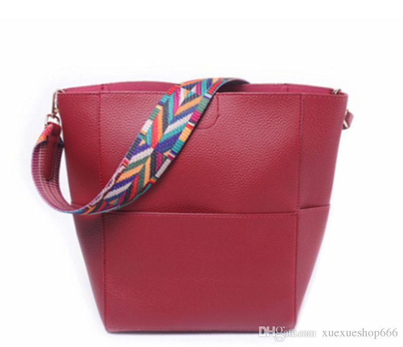 087c58866ab4 Luxury Brand Designer Bucket bag Women Leather Wide Color Strap Shoulder  bag Handbag Large Capacity Crossbody bag For Shopping