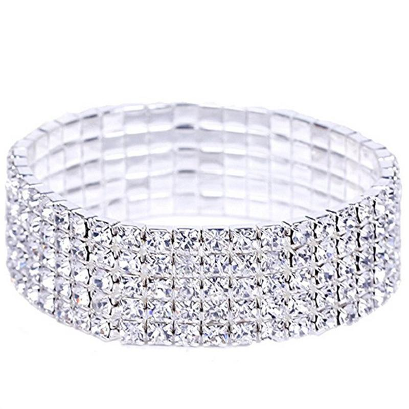 XIAOJINGLING 6 Styles Luxury Bracelets Sparking Jewellery Trendy Stretchy Bangle Elastic Wedding Bridal Accessory Wristband