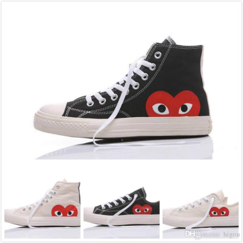 2019 New Converse All Stars Shoes CDG Canvas With Eyes Hearts Brand ... a1e783b64