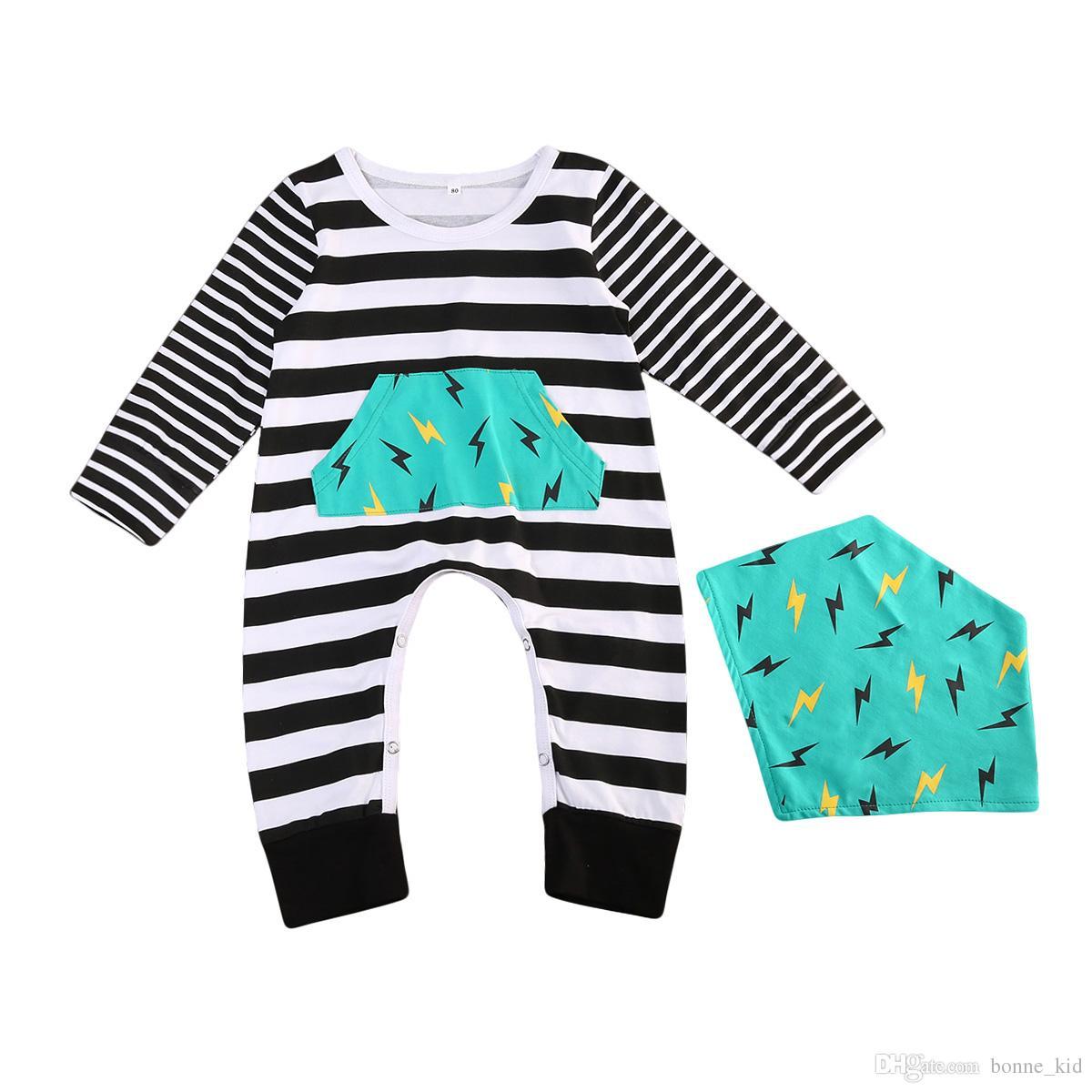 3d3fd9b265c7 2019 Baby Boy Striped Romper Long Sleeve Jumpsuit Bib Set Geometric Flash  Baby Clothes Outfits Kids Boys Girls Rompers Bodysuit 0 24M From Bonne kid