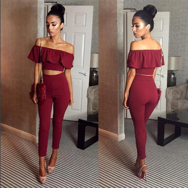 ffb83f682 2019 Casual Women Suits Sexy Two Piece Outfits Girls Crop Top And Long  Pants Women Set Bodycon Suit Womens Clothing Ruffles From Burtom, $20.71 |  DHgate.Com