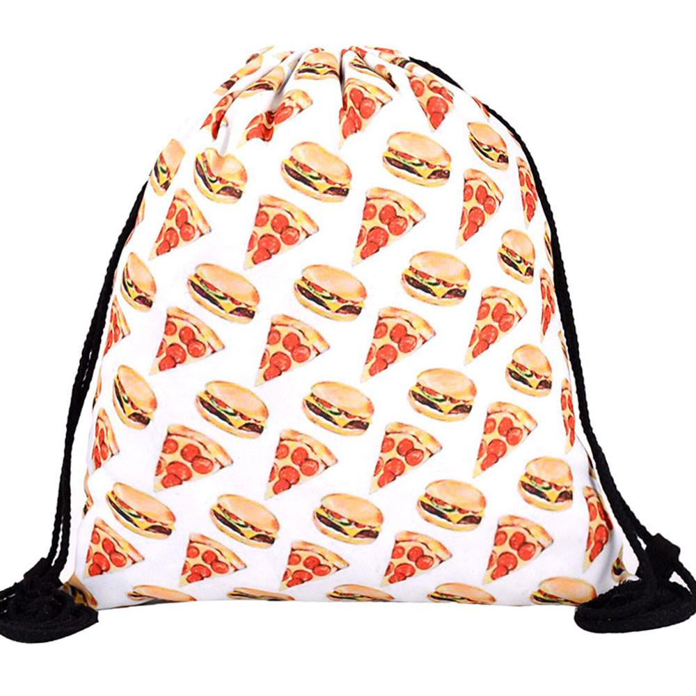 8ff267d58fb 2019 Fashion Drawstring Bag 3D Printing Hamburger Pizza Bags Polyester  Travel Storage Rucksack Package Teenager Shoulder Backpack From Abbybab, ...