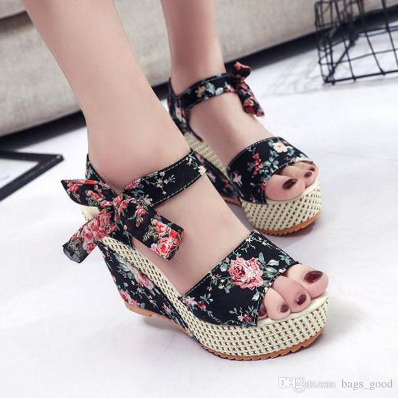 e8cb4233a Compre Novas Senhoras Sapatos Mulheres Sandálias Verão Aberto Toe De Peixe  Cabeça De Moda Plataforma De Salto Alto Cunha Sandálias Sapatos Femininos  De ...