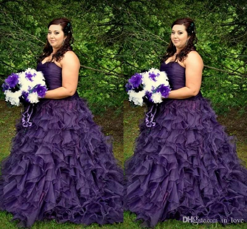 Discount Dark Purple Plus Size Wedding Dress Sweetheart Pleats ...