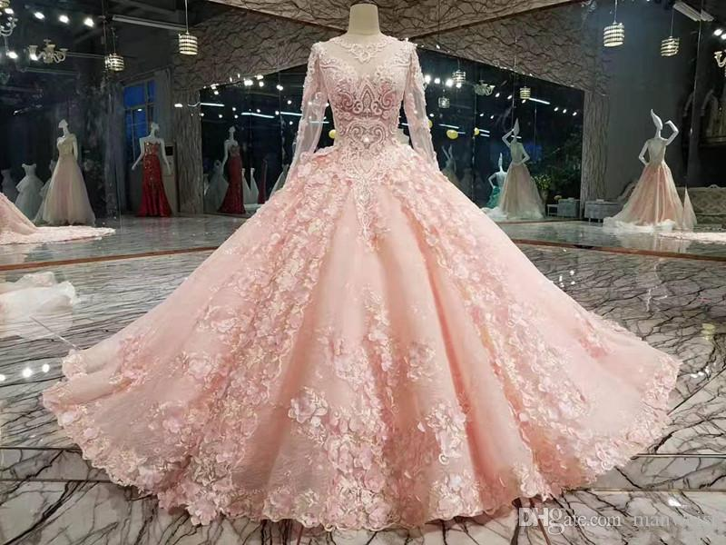Luxury Pink New Designer Ball Gown Prom Dresses Long Sleeves Lace Appliqued Beads Dress Evening Wear Plus Size Custom Made Formal Gowns