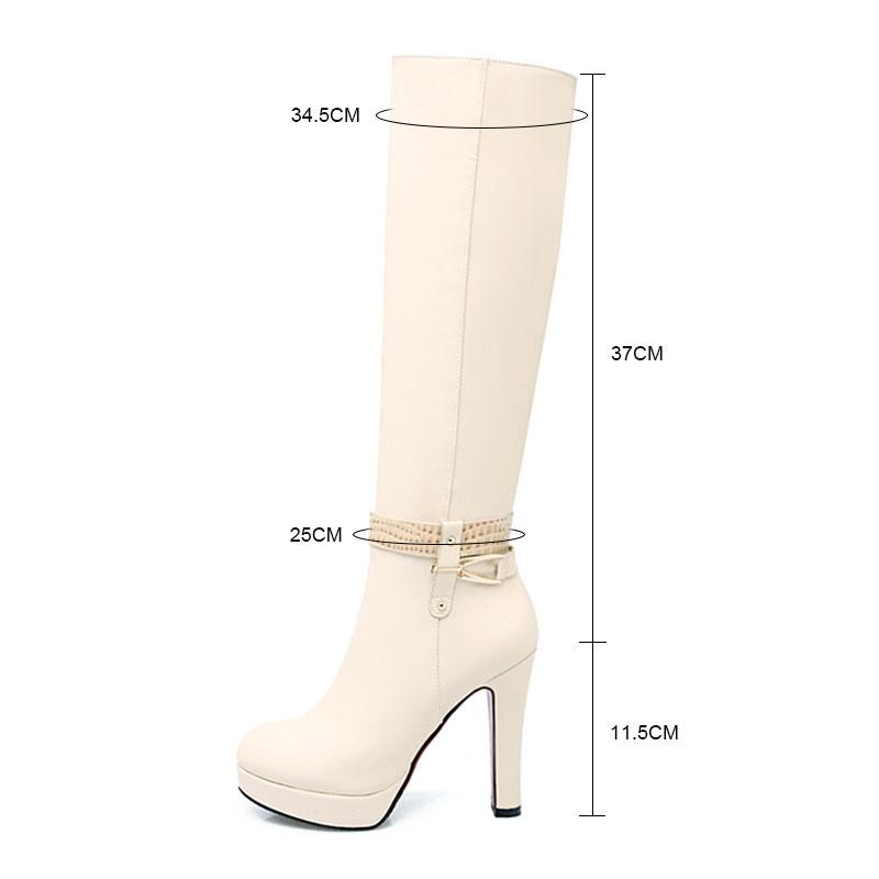 Fanyuan 2017 Buckle Knee High Boots Thick High Heels Knight Boots Platform Shoes Woman Autumn Winter Boots Cool Winter Shoes