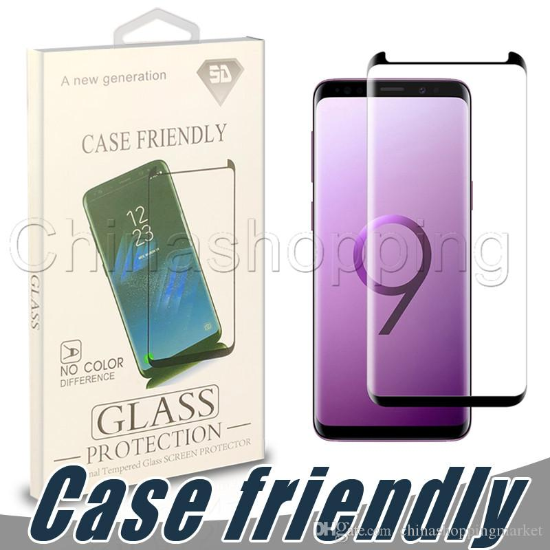 Case Friendly 3D Curved Screen Protector Flim Full Surface Tempered Glass Cover For Samsung S9 S8 Plus S7 Edge with Retail Package