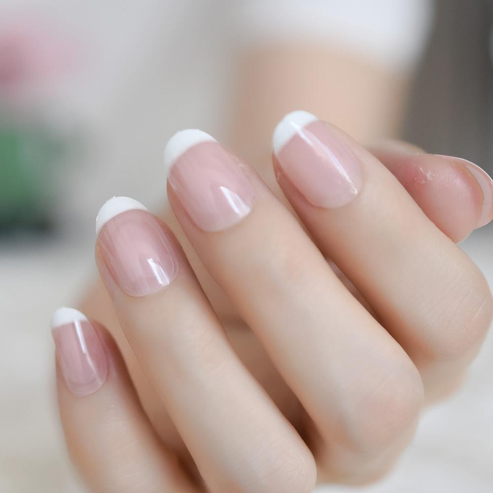 Classical Light Pink Clear French Nail Pointed Simple Design White