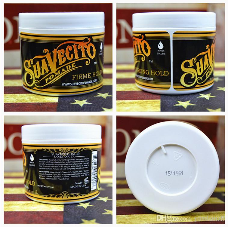 TOP 113g Suavecito Pomade Hair Waxes Strong Style Pomade Hair Gel Style Tools Firme Hold Big Skeleton Slicked Back Hair Oil Wax Mud FREE DHL