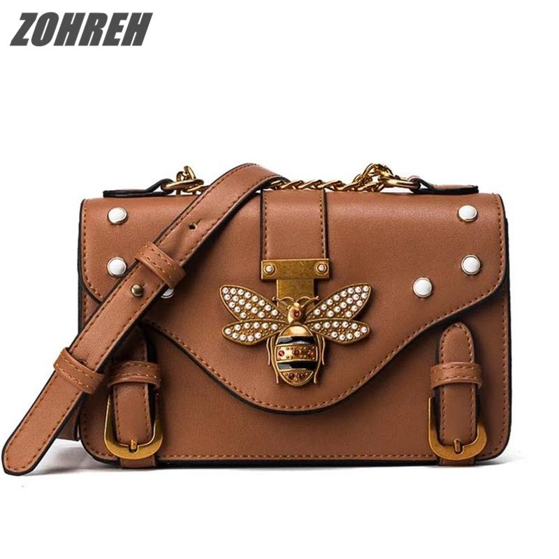 7ac2c9654523 2019 New Brand Designer Women Handbags Shoulder Bag Pearls Bee Buckle Chain  Small PU Messenger Bag For Female Young Ladies Party Side Bags Handbag  Brands ...