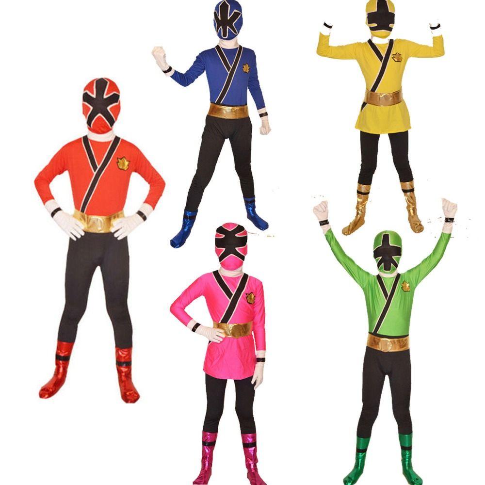 2019 Kid Children Adult Power Unisex Boys Girls Costume Green   Red Yellow Pink Blue Samurai Cosplay Halloween Bodysuit From Freea d91bc22f3