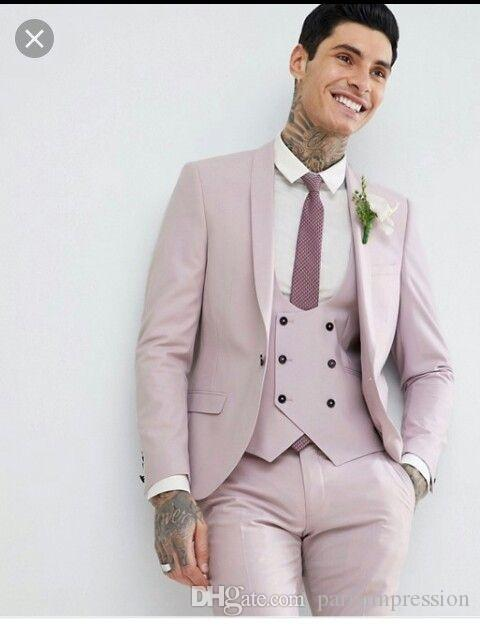 2019 New Slim Fit Men Suit For Wedding Latest Coat Pant Designs Pink