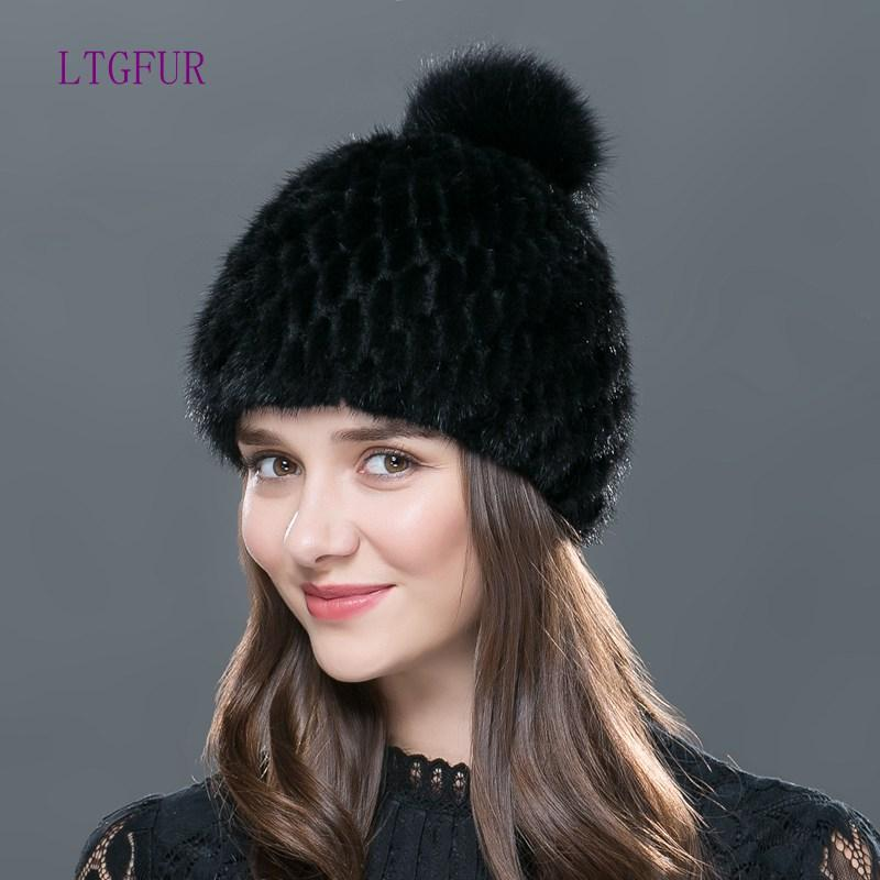 90abdae6fb4 Wholesale- LTGFUR Real Hat Knitted Winter Hat Mink Hat Fox Fur Pom ...