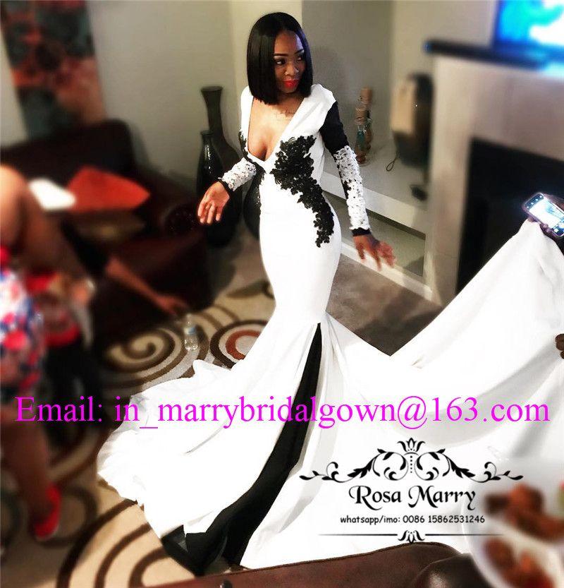 Maniche lunghe bianco nero sirena prom dresses 2020 Plus Size Pizzo d'epoca 2k18 backless lunghe ragazze abiti da sera formale festa di laurea