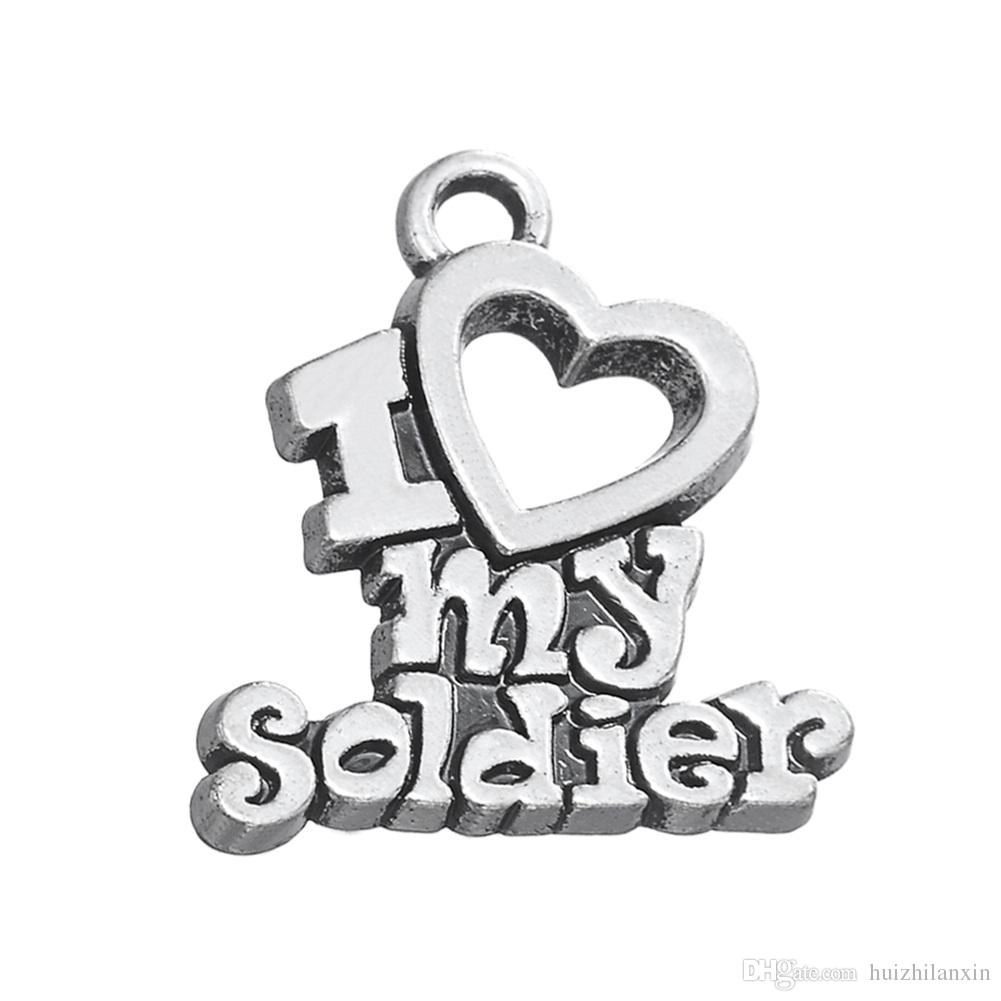 Fashion Latest Style DIY Jewelry Lettering I Heart My Soldier Metal Pendant Jewelry Charms Dangle Accessories