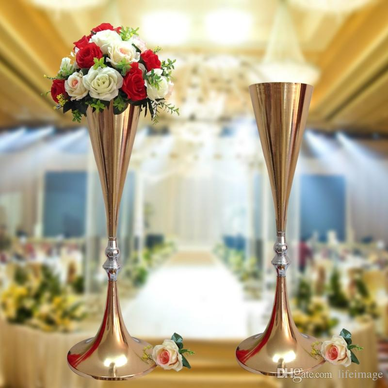 Cm inch height rose gold metal tall flower vase